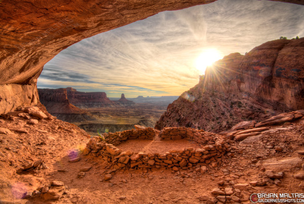 False Kiva Sunset Canyonlands National Park