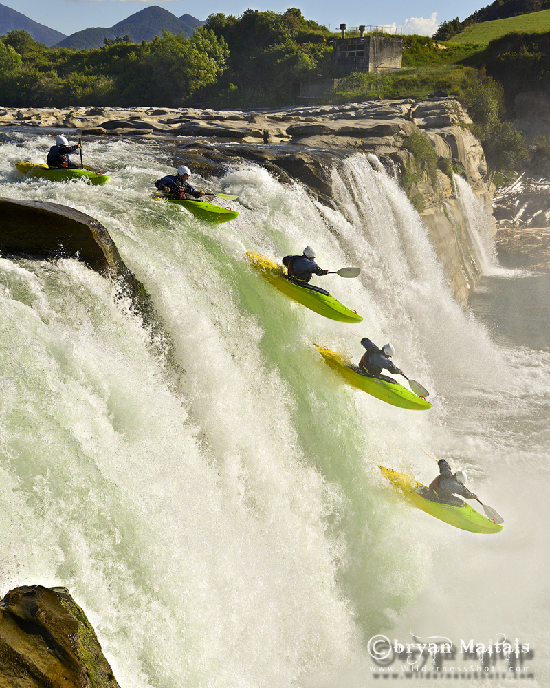 Kayaker Going Over Waterfall New Zealand
