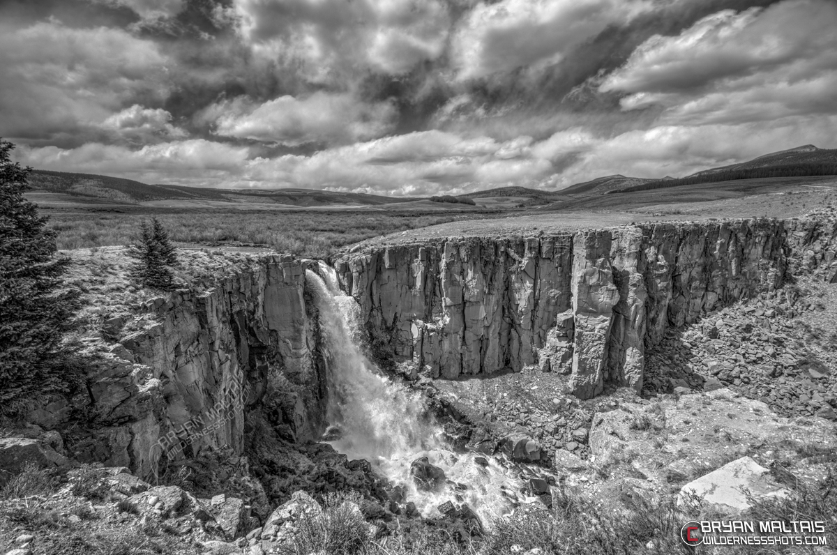 Clear Creek Falls Colorado Black and White