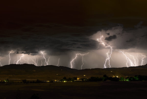 night photo of stacked lightning panoramic