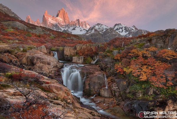 Mt Fitz Roy Patagonia Waterfall El Chalten Fall Colors