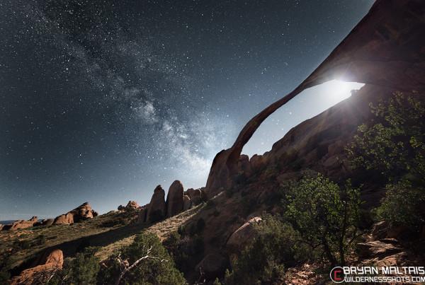 Landscape Arch Milky Way Moon Moab Utah