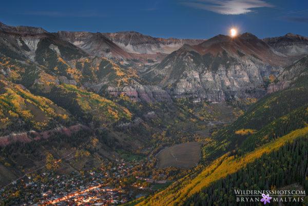 Supermoon Bloodmoon Eclipse 2015 over Telluride Mountains