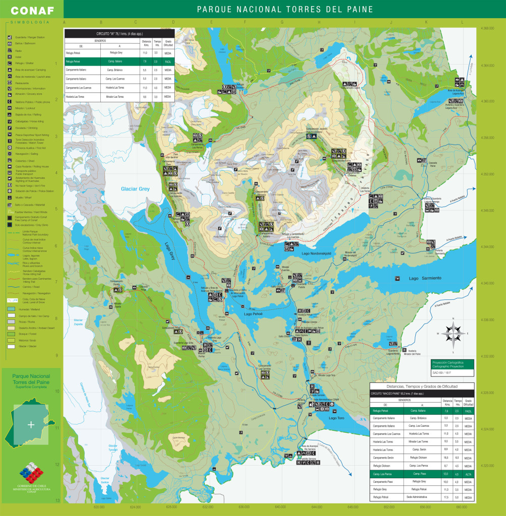 Full size Torres del Paine hiking map