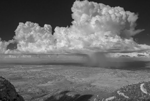 thunderstorm huachuca mountains bw