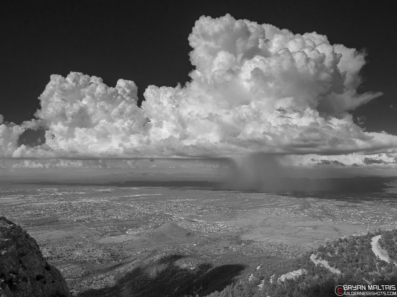 thunderstorm huachuca mountains bw