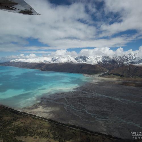 Aerial Lake Pukaki Alps New Zealand