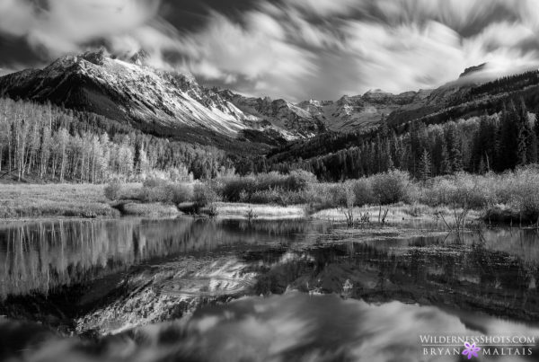 Mt sneffels reflection colorado black and white