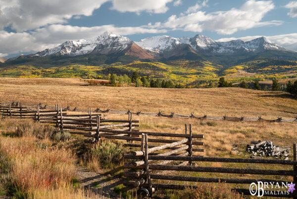 San Miguel Mountains Split Rail Fence Colorado Photos