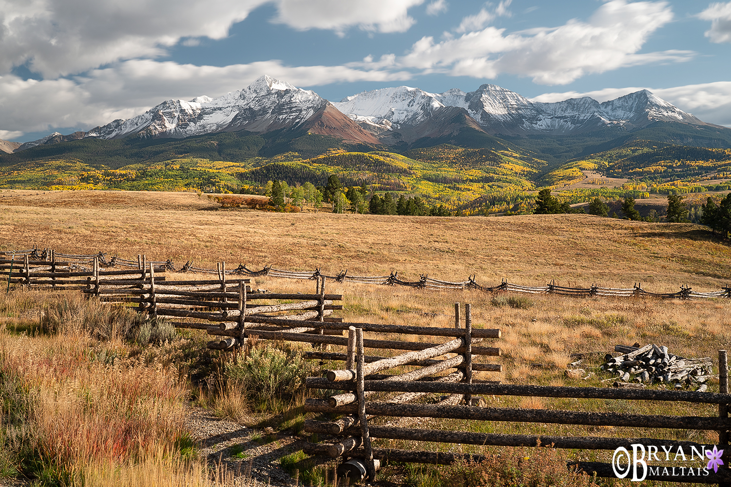 San Miguel Mountains Split Rail Fence Colorado Photos